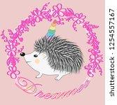 a cute cartoon hedgehog with a... | Shutterstock . vector #1254557167