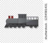 black locomotive icon. cartoon... | Shutterstock .eps vector #1254581431