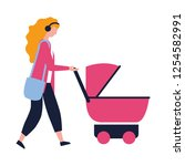 woman walking with baby pram | Shutterstock .eps vector #1254582991