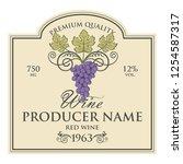 vintage label for wine bottles... | Shutterstock .eps vector #1254587317