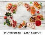 brushetta or traditional... | Shutterstock . vector #1254588904