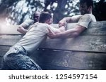 soldiers helping man to climb... | Shutterstock . vector #1254597154