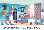 child bedroom interior cartoon... | Shutterstock .eps vector #1254605977