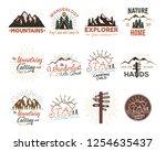 travel badges set. vintage hand ... | Shutterstock .eps vector #1254635437
