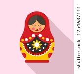 cute nesting doll icon. flat... | Shutterstock .eps vector #1254637111