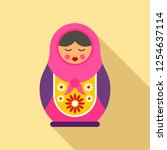 russian nesting doll icon. flat ... | Shutterstock .eps vector #1254637114