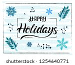 happy holidays hand drawn... | Shutterstock .eps vector #1254640771