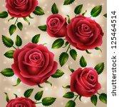 roses seamless pattern   vector ... | Shutterstock .eps vector #125464514