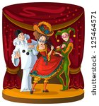 Columbine, Harlequin and Pierrot - theater comedian characters. The personages of Italian comedy del arte in bright clothes on curtain scene background. Also available raster version