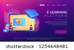 students using e learning... | Shutterstock .eps vector #1254648481