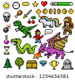 pixel art 8 bit objects. retro... | Shutterstock .eps vector #1254656581