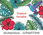 tropical design template. hello ... | Shutterstock .eps vector #1254657544