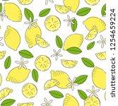seamless pattern with lemons | Shutterstock .eps vector #1254659224