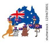 kangaroo koala wombat and emu... | Shutterstock .eps vector #1254673831
