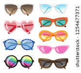set of fashionable sunglasses... | Shutterstock .eps vector #1254677371