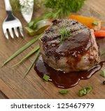 grilled beef steak with... | Shutterstock . vector #125467979
