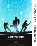 hockey banner with players and... | Shutterstock .eps vector #1254702424