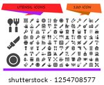 vector icons pack of 120 filled ... | Shutterstock .eps vector #1254708577