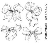 bows and ribbons hand drawn set.... | Shutterstock .eps vector #1254716677
