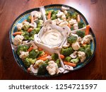 veggie party tray with... | Shutterstock . vector #1254721597