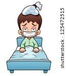 illustration of sick boy cartoon | Shutterstock .eps vector #125472515