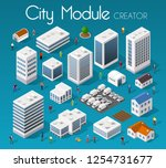 isometric set module city with...   Shutterstock .eps vector #1254731677