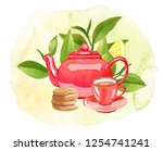 teatime  watercolor... | Shutterstock . vector #1254741241