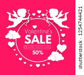 valentine's day sale. cute... | Shutterstock .eps vector #1254744421