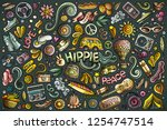 vector colorful hand drawn... | Shutterstock .eps vector #1254747514