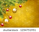 christmas baubles and golden...   Shutterstock .eps vector #1254751951