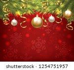 christmas baubles and golden...   Shutterstock .eps vector #1254751957