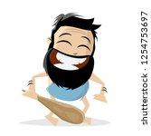 funny cartoon illustration of a ... | Shutterstock .eps vector #1254753697