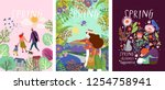 cute posters of spring time ... | Shutterstock .eps vector #1254758941