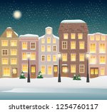 winter town illustration. cozy... | Shutterstock .eps vector #1254760117