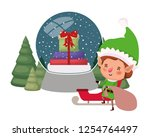 elf with gift bag and christmas ... | Shutterstock .eps vector #1254764497