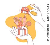 woman hand holding a gift for... | Shutterstock .eps vector #1254777151