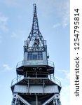 grey iron and steel dock cranes ... | Shutterstock . vector #1254795814