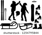 winter sports   vector icons. | Shutterstock .eps vector #1254795844