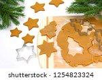 cooking christmas gingerbread. | Shutterstock . vector #1254823324