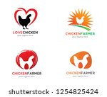 chicken logo  logo collection... | Shutterstock .eps vector #1254825424