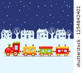 vector xmas card with bright... | Shutterstock .eps vector #1254842401