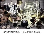 shining bottles  spoon  old... | Shutterstock . vector #1254845131