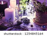 black and white candles  dried... | Shutterstock . vector #1254845164