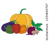 fruits and vegetables   Shutterstock .eps vector #1254845707