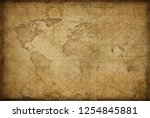 retro styled world map | Shutterstock . vector #1254845881