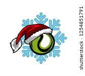 tennis santa snow flake logo   Shutterstock .eps vector #1254851791