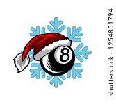 billiard santa snow flake logo   Shutterstock .eps vector #1254851794