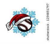 baseball santa snow flake logo   Shutterstock .eps vector #1254851797