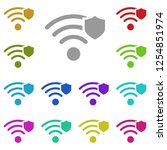wi fi with shield icon in multi ...
