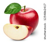 apple with leaves isolated on... | Shutterstock . vector #1254862417